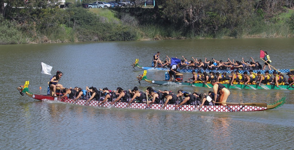 The Lowell Red Tide making their way towards the finish line at the 2018 Youth Race on April 22 at Lake Merced.
