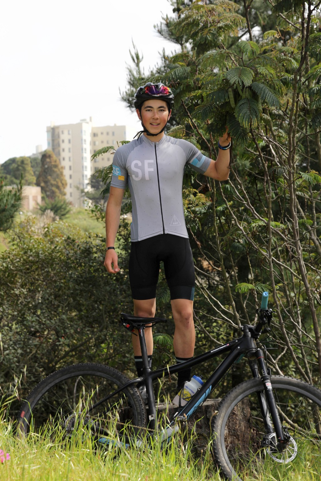 Senior Liam Gima-Lange is one of only two cross country mountain bike racers at Lowell.