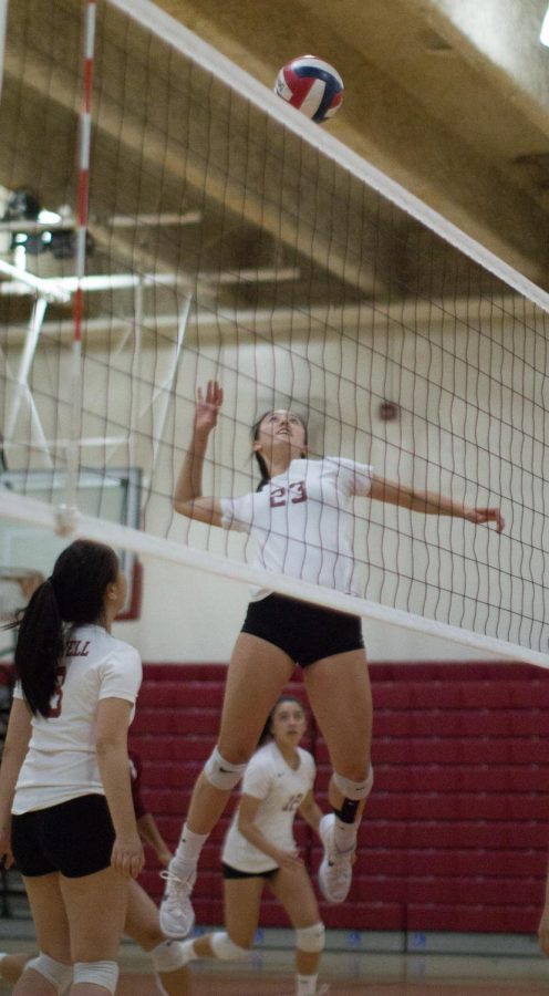Junior middle blocker Mariko Tanaka performs a powerful spike at the midcourt.