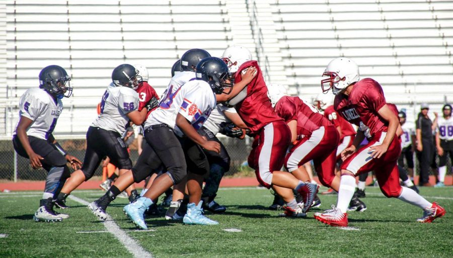 The Cardinal defensive line works together to attack the Lions.