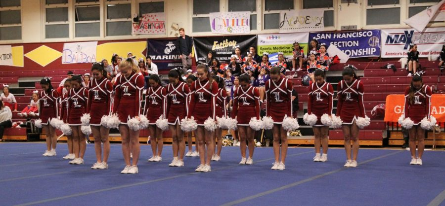 Lowell cheer gets ready to perform their dance routine.