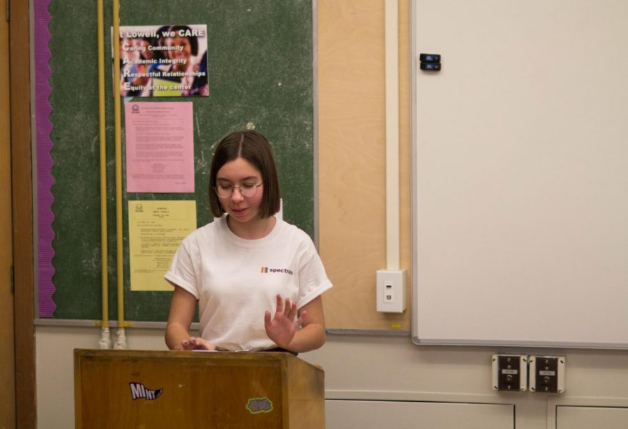 Senior Gracelyn Barmore Pooley speaks at the Spoken Word workshop on Feb. 4