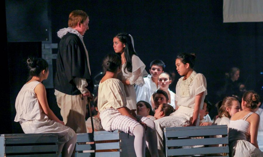 Senior Joseph Guenther, as Judge Turpin, eyes his  adopted daughter. Johanna.  Madison Chan, as Johanna,  looks in disgust.
