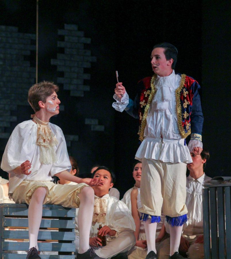 Junior Skyler Chaikin, as Pirelli, realizes he spent the competition bragging rather than shaving, leaving his customer, played by Rory Schmidt, covered in shaving cream.