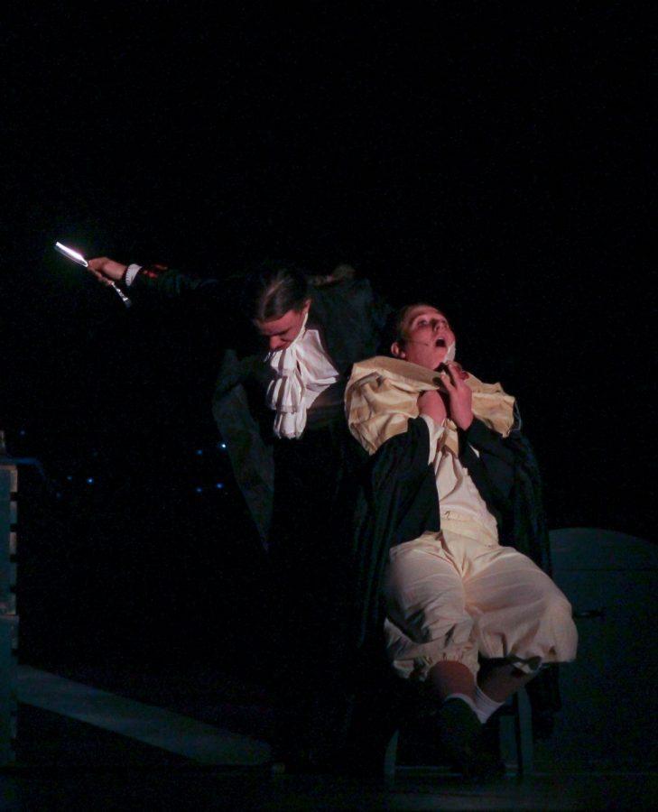 Junior Ariel Anderson, as Sweeney Todd, finally kills senior Joseph Guenther, as Judge Turpin.