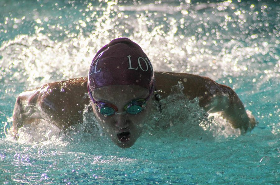 Senior varisty swimmer Angela Huang competes at the meet against Balboa on Feb. 22.