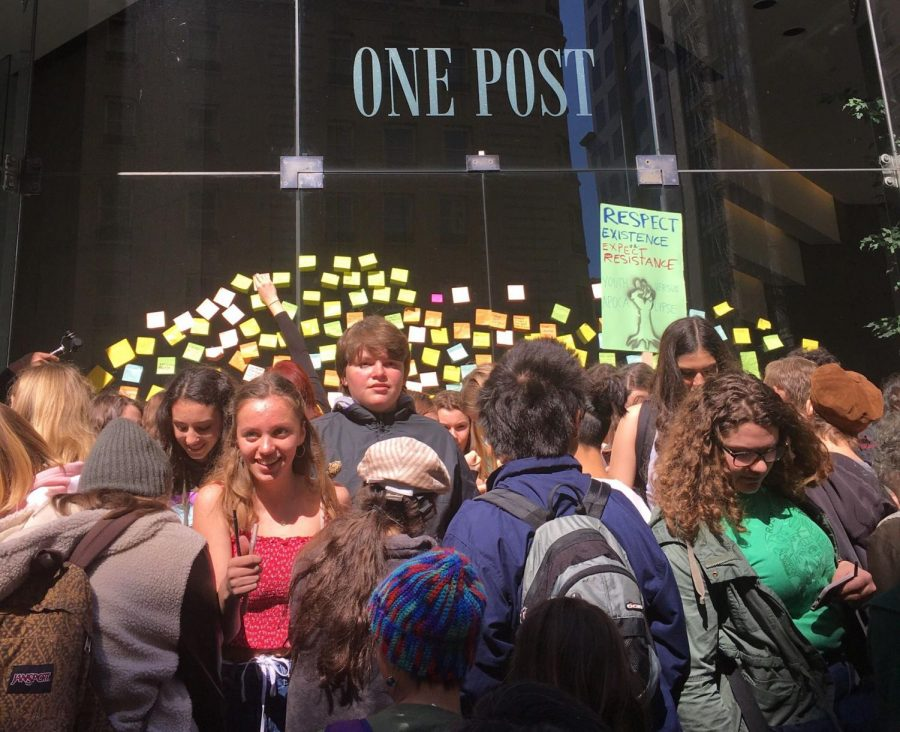 Protesters leave post it notes with messages for senator Dianne Feinstein outside of her office.