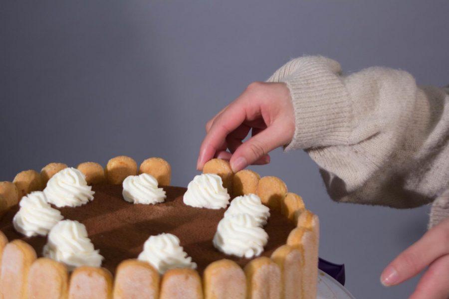 Gaos freshly baked tiramisu cheesecake.