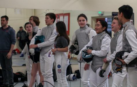 Cardinal fencers at a home meet earlier in the season on Mar. 5.