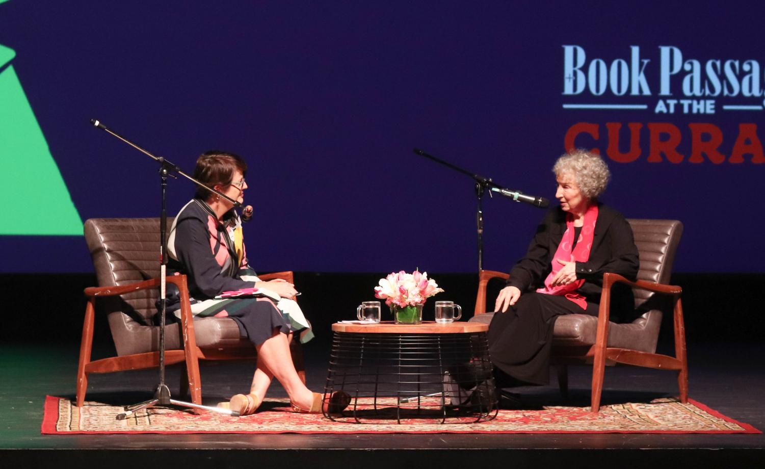 Nicole Stetsyuk Moderator Kelly Corrigan (left) and author Margaret Atwood (right) discuss Atwood's latest book release in Lowell's Carol Channing Theater.