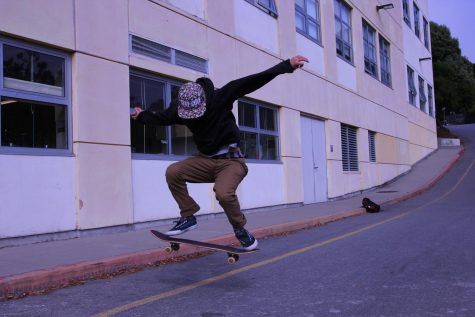 Sophomore Austin Lesseps learned how to skateboard in 8th grade with the help of his uncle. Lesseps skates for an hour or more every day using the skateboard given to him by local artist Jeremy Fish.