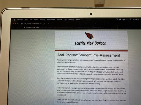 On September 11th students were asked to fill out an anti-racism pre-assessment during reg.