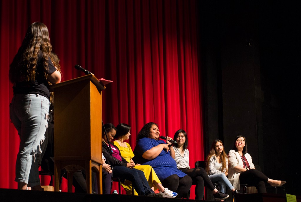 Alumni of Color Panel speakers talking to Lowell students on Feb. 7.