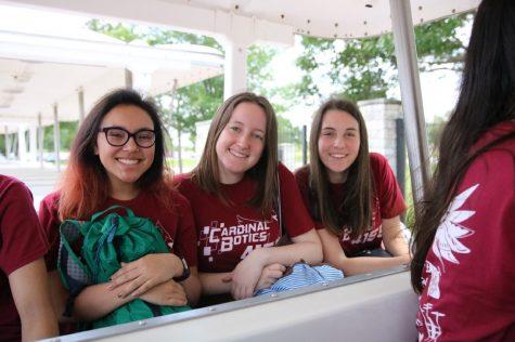 Elizabeth Karas, Erne Mccabe and Maya Terplan smile for the camera in Houston, Texas.