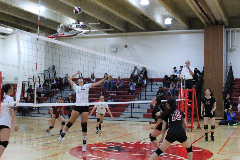 Freshman Kailani Wang gets ready to jump up and spike the ball.
