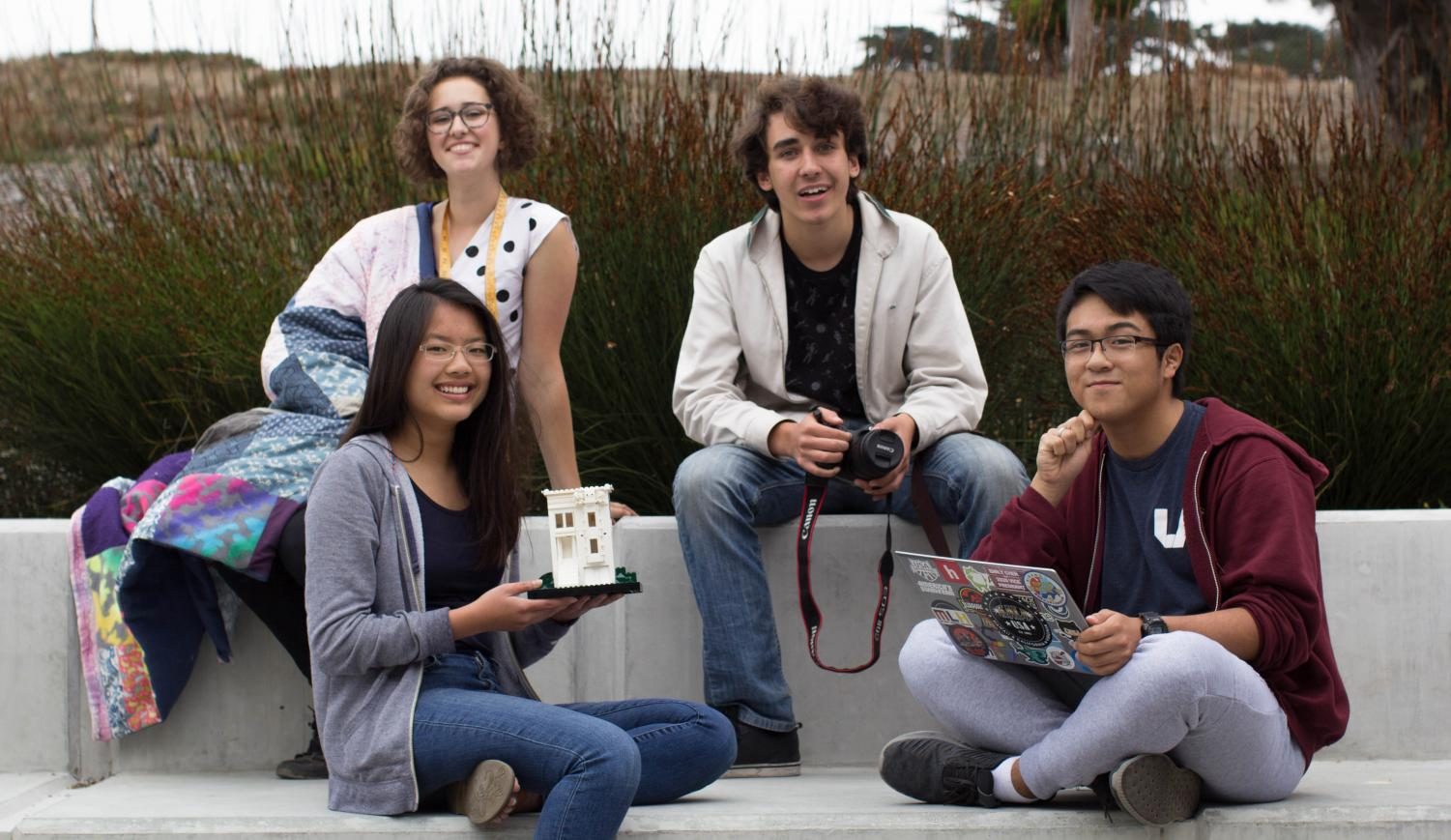 From left to right: Junior Ellie Reiff, senior Jasmine Liang, sophomore Sebastian Kaplan, and junior Alex Ruiz.