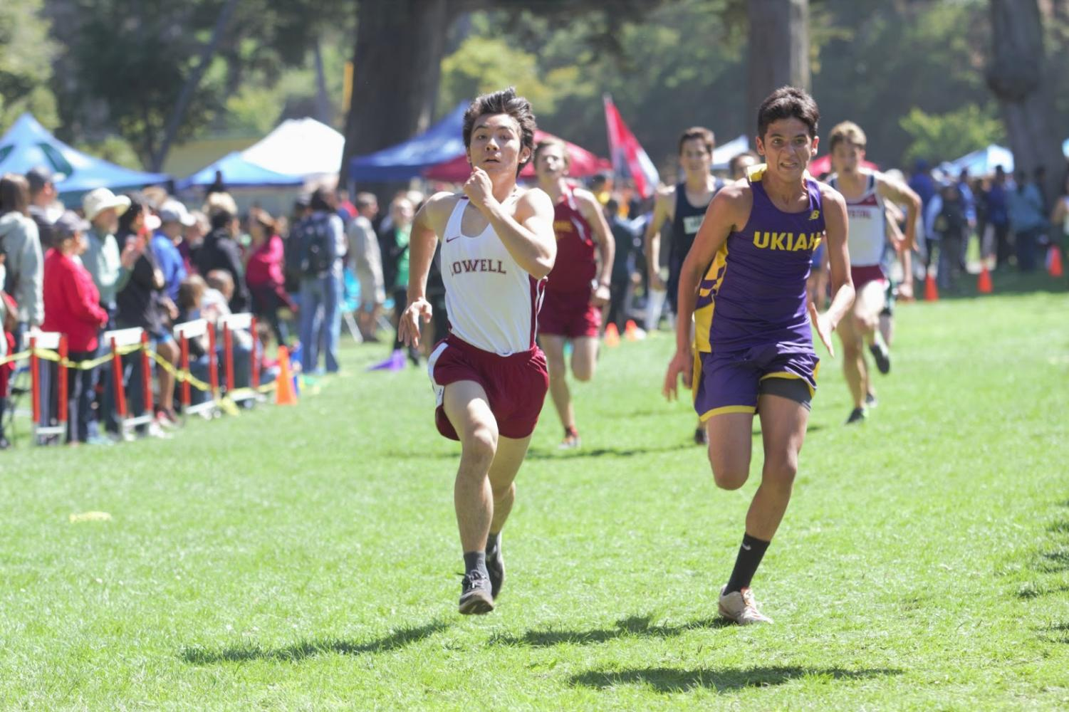 Senior Ryan Lee hustles to the finish line in heat 1 of the JV boys race at the Lowell Cross Country Invitational on Sept. 8 at Speedway Meadow in Golden Gate Park. He finished in 29th place out of 272 runners in his heat.