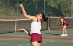 Senior Julianna Eng hits an overhead shot at the AAA Girls Tennis Championship on Nov. 2 at Golden Gate Park.