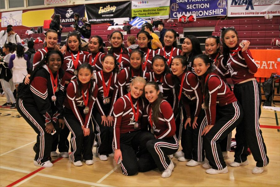 The cheer team poses for a group photo after winning two Silver medals at the CIF SF Cheer Championships on Dec. 8.