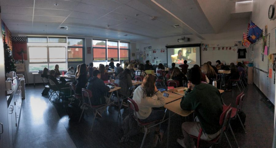 Rising class sizes cause crowding in Chiara Pelagatti's fourth block Italian 3/3 Honors class.