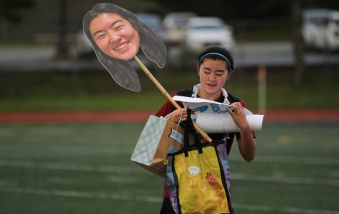 Senior defender Mariko Hokamura's teammates got her various gifts to celebrate Senior Day.