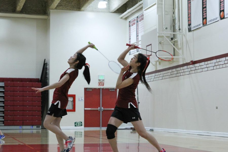 Senior+Joanna+Feng+%28right%29+and+Elaine+Huang+%28left%29+demonstrate+strong+partnership+at+the+match+against+the+Galileo+Lions+on+Mar.+12+at+home.+
