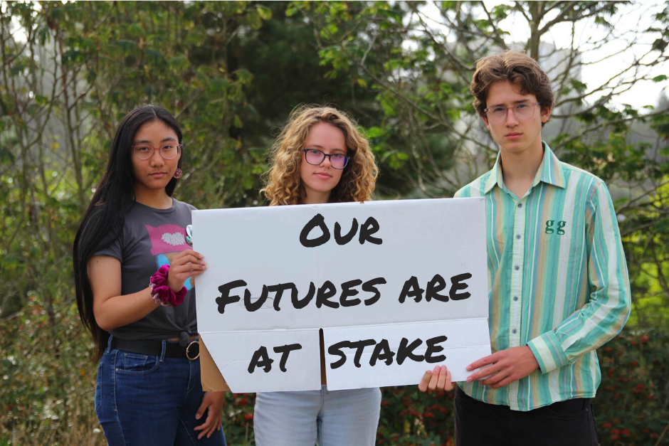 Lauren Caldwell Student climate activists are standing up for the future of the planet. From left to right, Tanya Santos, Louise Michel, and Silas Crocker. The text on this image was edited on after the photograph was taken,