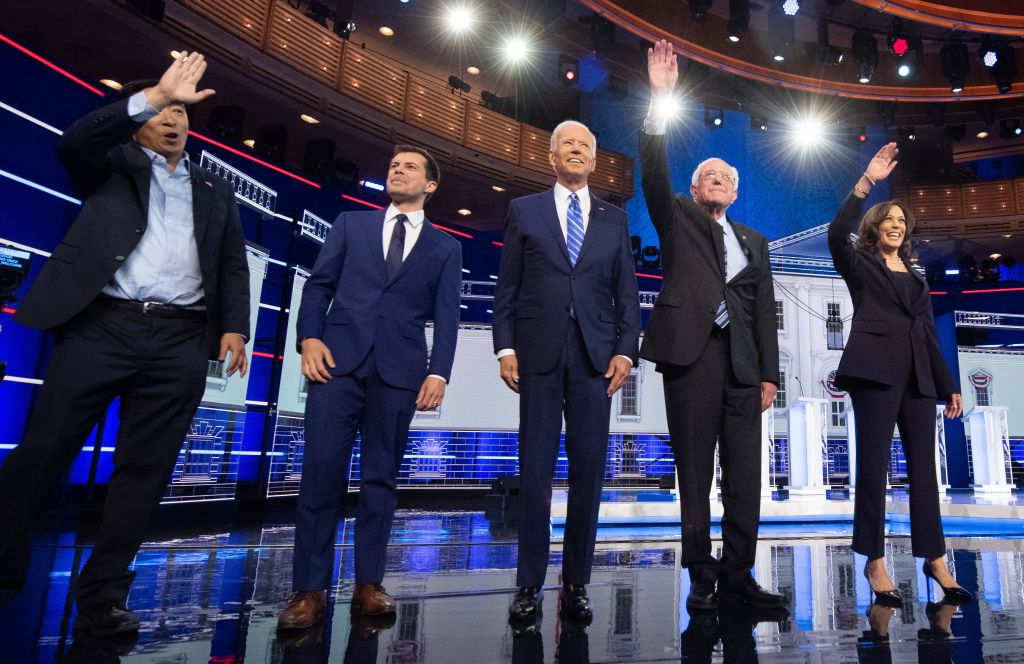 Photo courtesy of Getty Images, by Jim Watson The Democratic Primaries are crowded, with ten candidates qualifying for the second Democratic Primary debate hosted by NBC News. (L-R) Entrepreneur Andrew Yang, Mayor of South Bend, Indiana Pete Buttigieg, Former US Vice President Joseph R. Biden, US Senator for Vermont Bernie Sanders and US Senator for California Kamala Harris are among the top six candidates according to polling, and they are all hoping to stand out among the crowd.