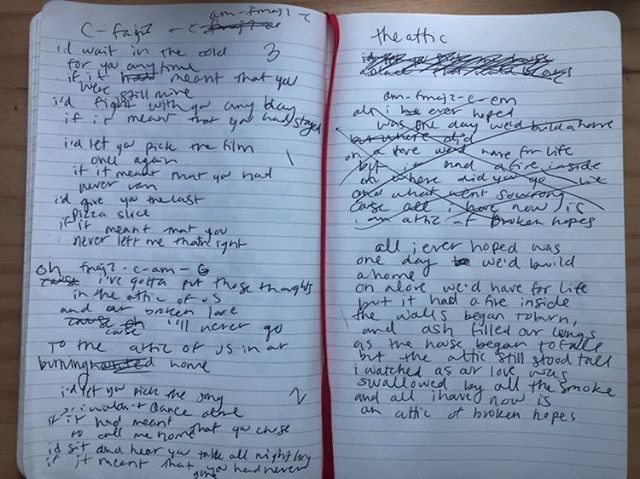 A page from Kolderup-Lanes songwriting notebook.